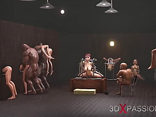Gangbang in gloryhole! Men fuck young slaves on expensive villa in the middle of the pots