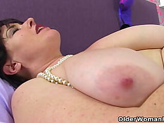 British mature Lelani's wet fanny is always ready for a good dildo fucking (brand NEW video get-at-able less Full HD 1080P). Bonus video: UK milf Janey.