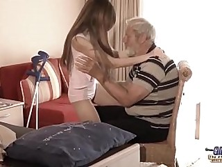 Old Young - Big Cock Grandpa Fucked by Teen she licks conceal old man penis